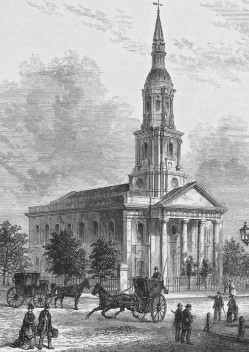 Shoreditch England: The Church Of St Leonard's In Shoreditch, Circa 1850. The