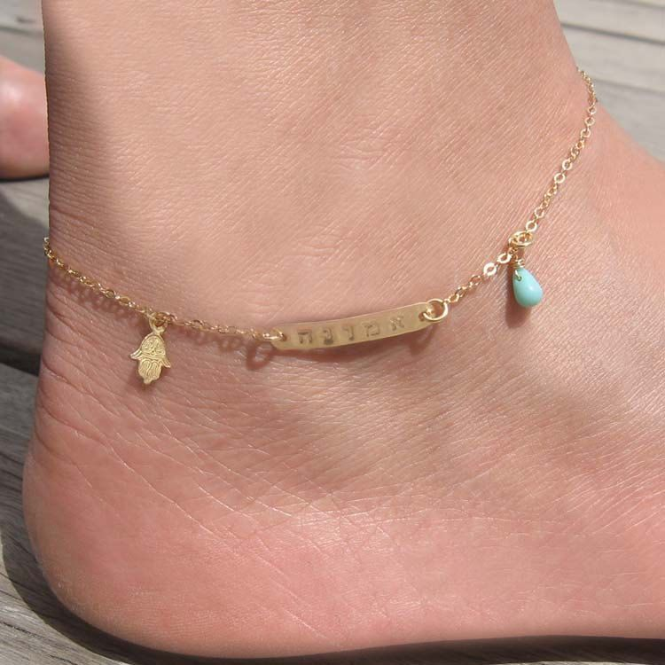 filled ankle gold bracelet cz anklet il listing bridesmaid stone rose