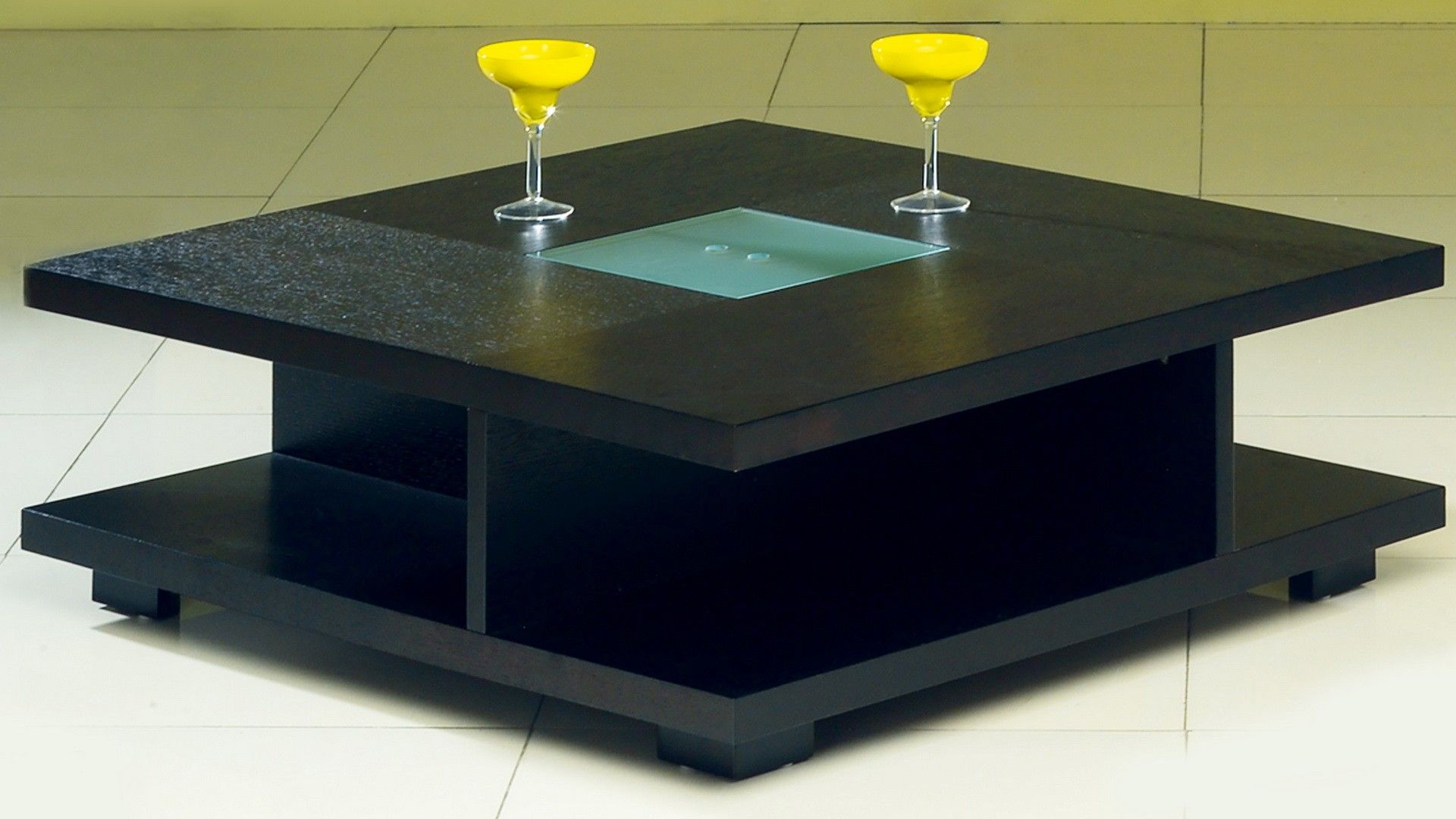 AtHome C5263 Coffee Table Square coffee table Glass top black