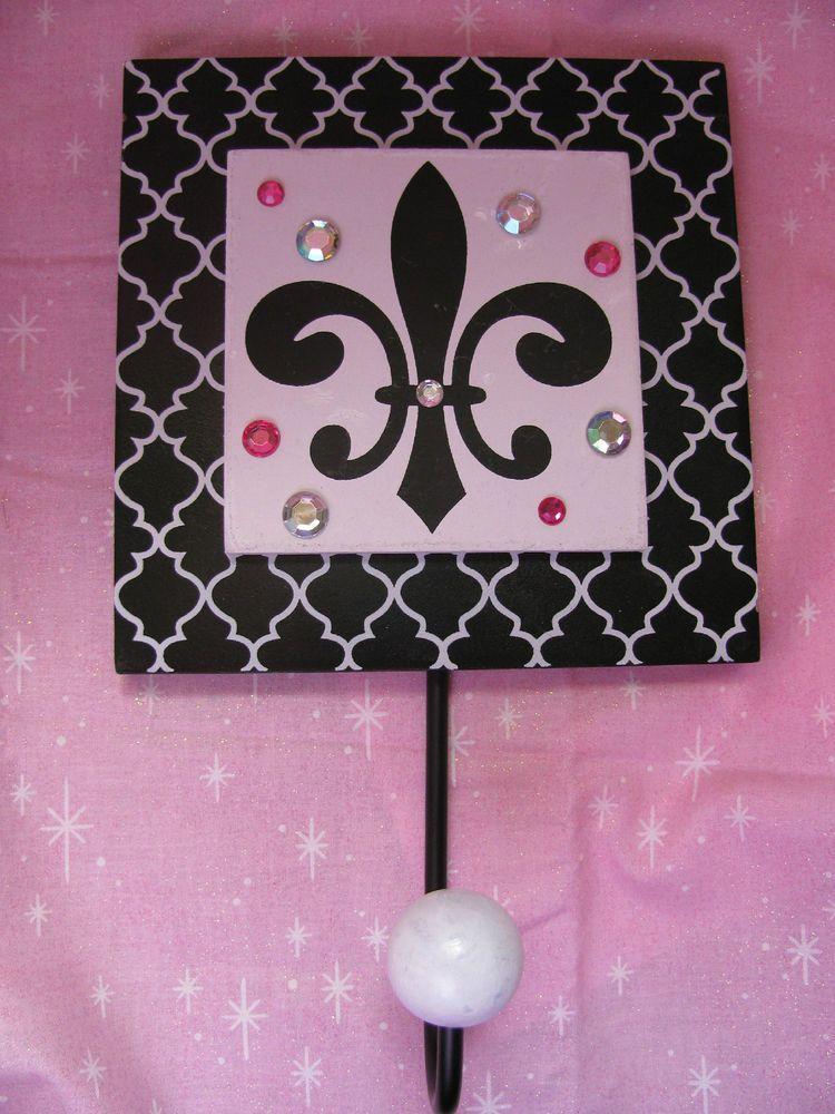 New Black & White Fleur de Lis Wall Hook w/ Pink Bling - Great Gift!