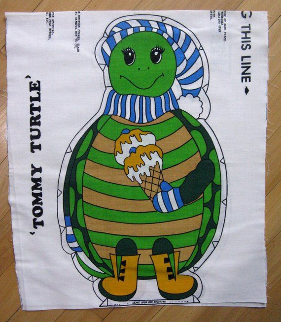 Vintage Tommy Turtle Fabric Panel 1960 S Stitch And Sew Pillow