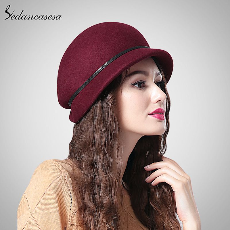 Fashion Brand Australian Wool Cap Brown Black Wine Red Winter Women Beret  Hat FW213001 3c55efd19f00