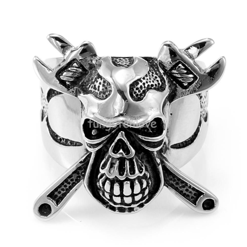 Jewelry 2017 New Stainless Steel Skull Crossbones Ring Wrench Mens Engagement Wedding Band Cool Punk Style