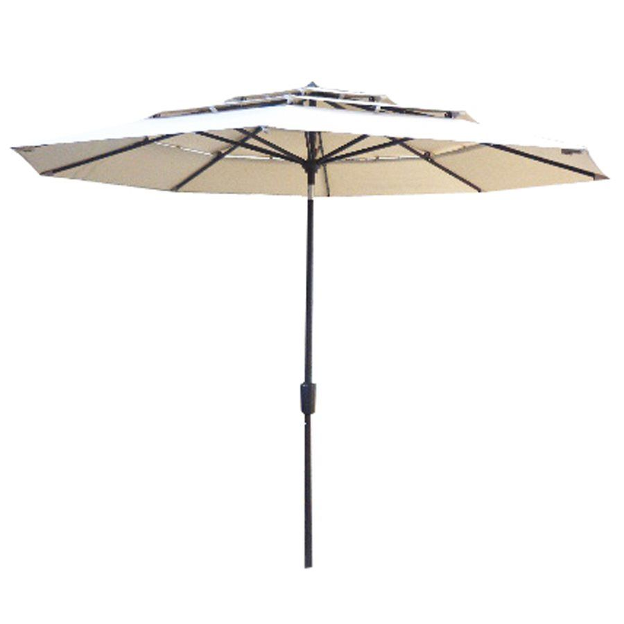 225 & allen + roth 11-ft 3-Tiered Octagon Patio Umbrella with Tilt-And ...