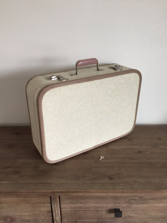 Vintage Luggage Vintage Cream Suitcase with Key Mid by Speckadoos ...
