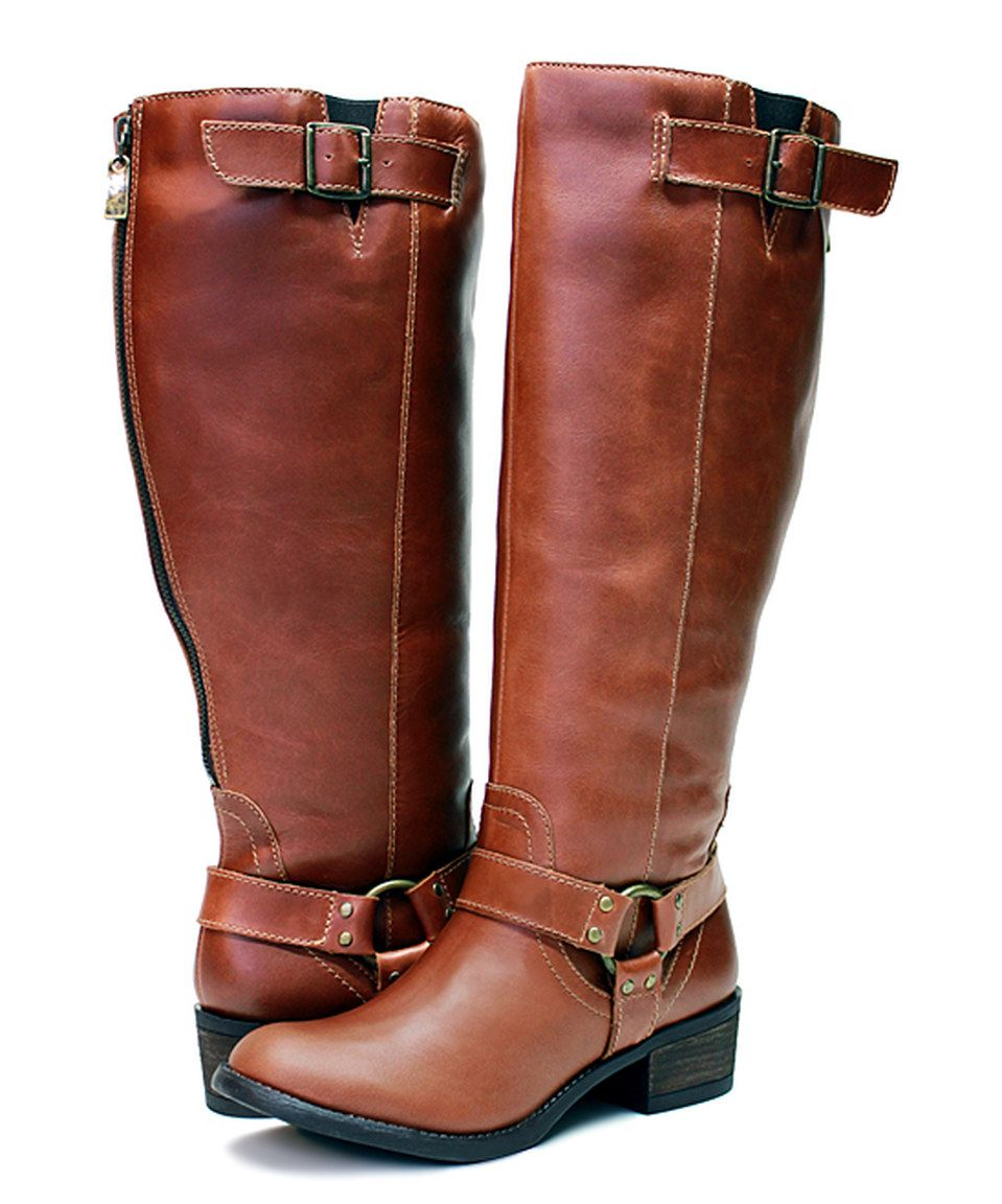 983656ec91b7 Vestiture Cognac Alamo Extra Wide-Calf Leather Boot by Vestiture  zulily   zulilyfinds