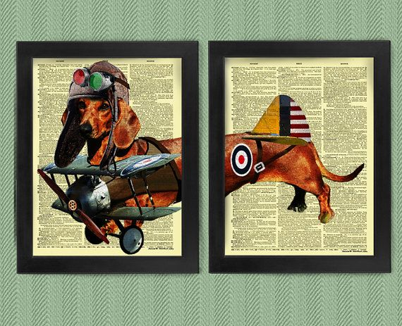 Olaf The Dachshund Flyer on Upcycled Dictionary illustration ...