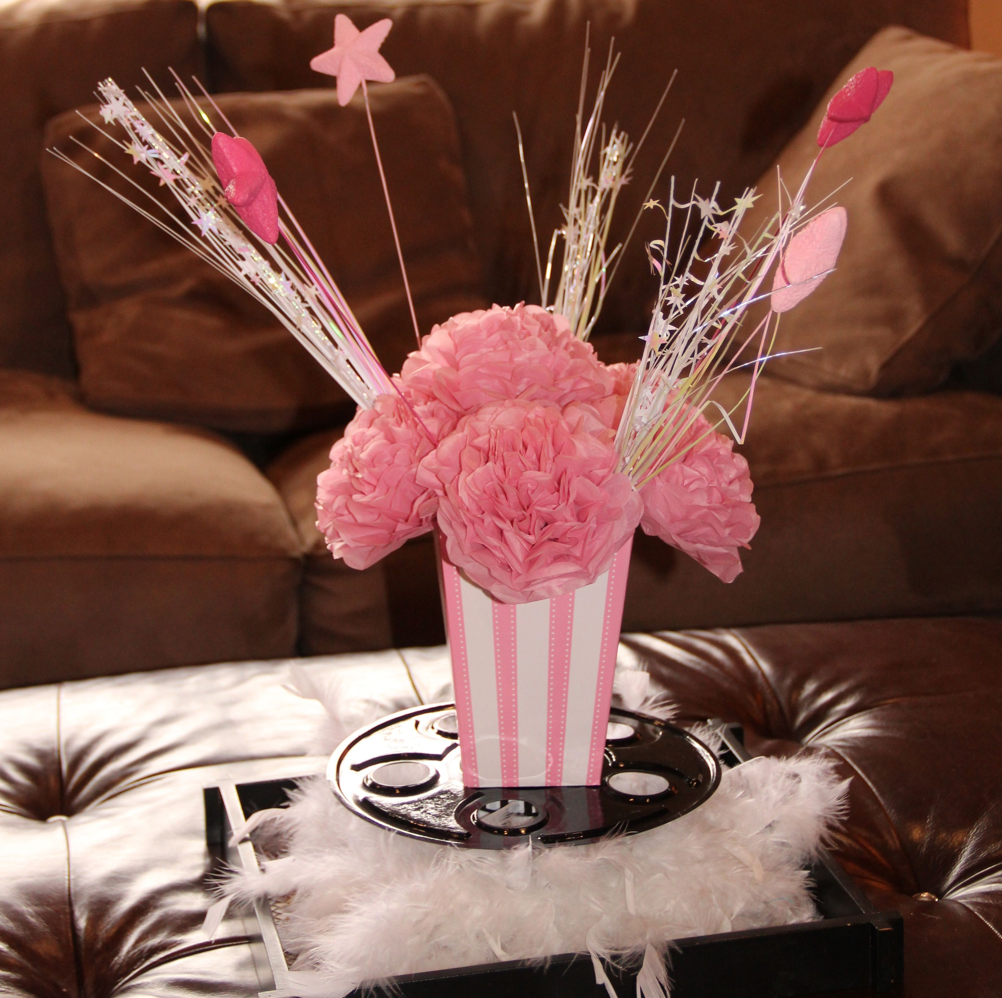 Centerpieces Pink And White Stripped Popcorn Box With Tissue Paper