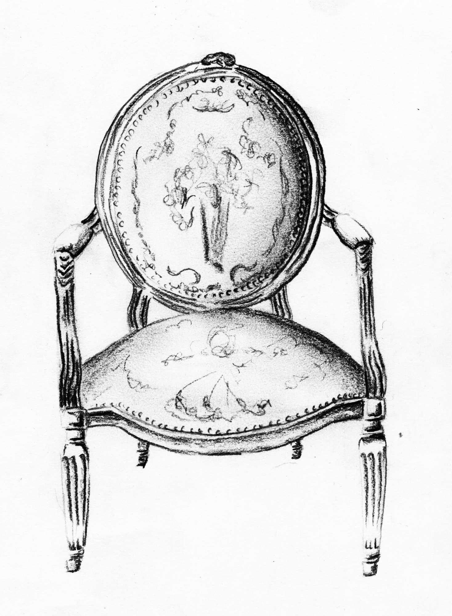 Furniture Sketches Louis Xvi Chair Sketch Andrea Andert Illustration