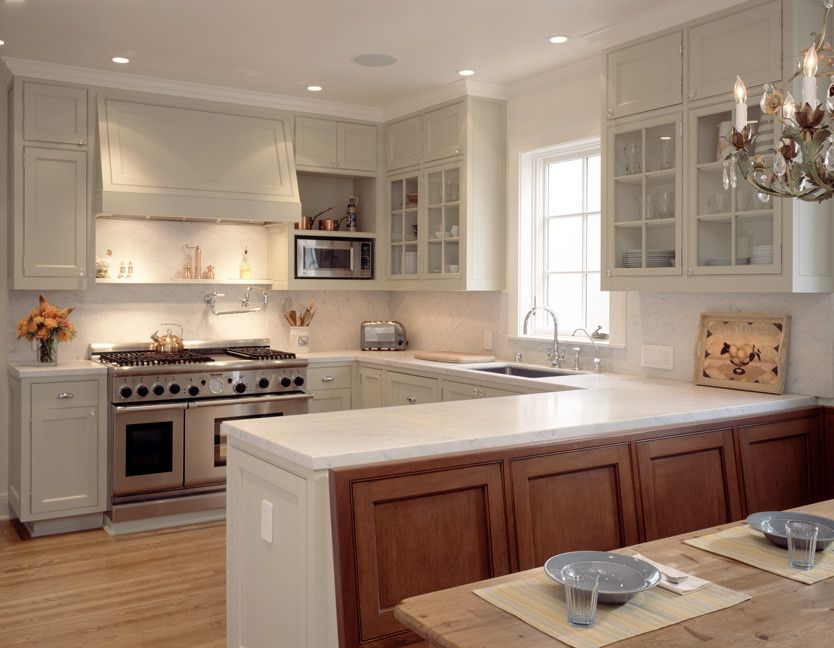 Also Called The C Shaped Kitchen This Layout Includes A Peninsula Includes Recessed Panel Cabinets G Small U Shaped Kitchens U Shaped Kitchen Kitchen Layout