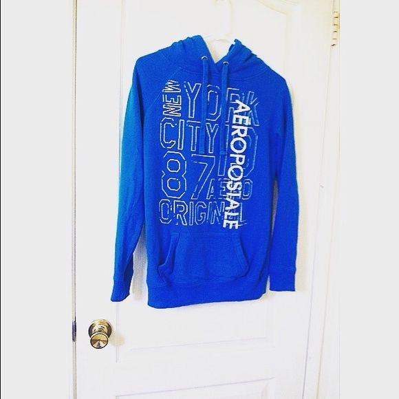 Aeropostale Hoodie Aeropostale hoodie in aqua blue, worn once. Perfect Condition. Small rhinestones in the white lettering. Aeropostale Sweaters