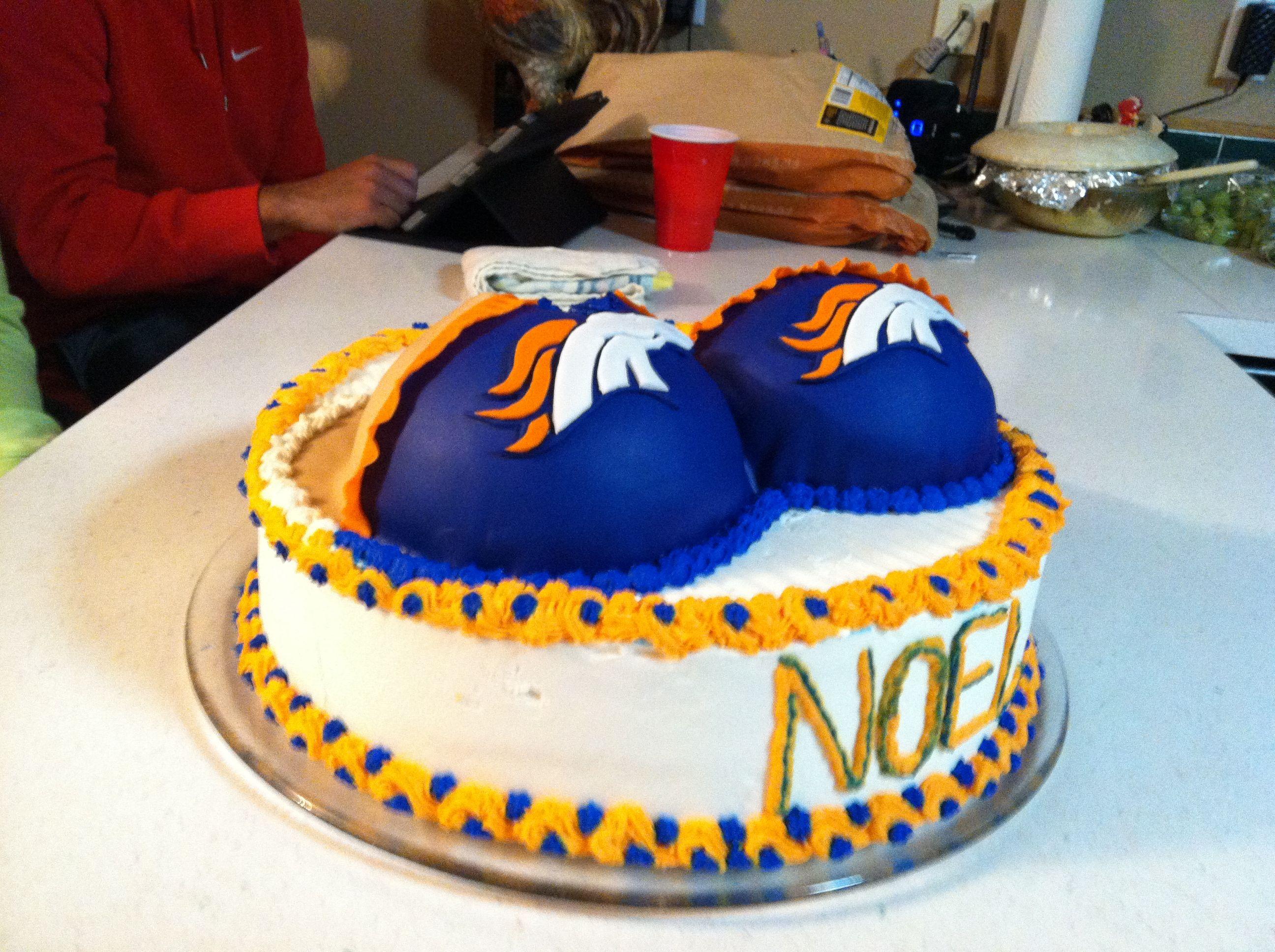 Pleasing Denver Bronco Cake With Images Broncos Cake Cake Denver Birthday Cards Printable Trancafe Filternl