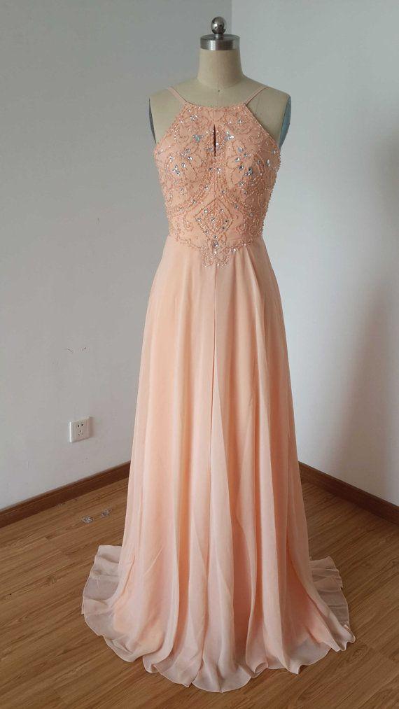 2015 Backless Spaghetti Straps Light Peach Chiffon Long Prom Dress ...