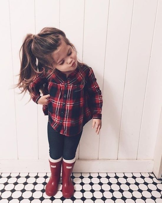 Fashion Look Featuring Patrizia Pepe Girls' Shirts & Blouses and Miss Blumarine Girls' Shirts & Blouses by deanaannexo - ShopStyle #babykidclothesandideas Plaid top leggings and hunter boots