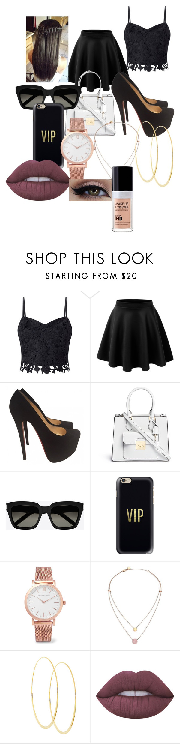 """""""Untitled #77"""" by adorably3vil on Polyvore featuring Lipsy, Christian Louboutin, Michael Kors, Yves Saint Laurent, Casetify, Larsson & Jennings, Lana, Lime Crime and MAKE UP FOR EVER"""