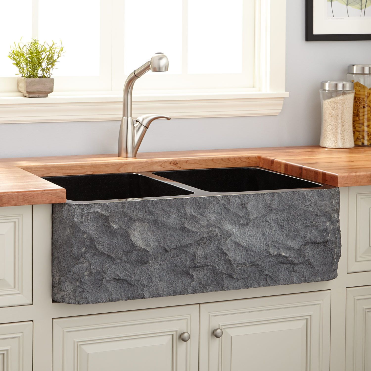 36 Polished Granite Double Bowl Farmhouse Sink In Chiseled Apron In Black Signature Hardware Farmhouse Sink Kitchen Sink Kitchen Fixtures