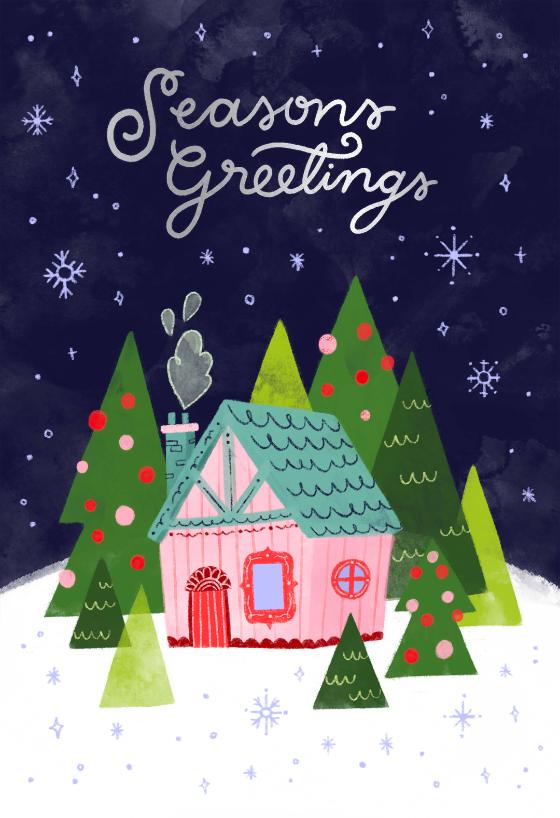 Winter Pink House Christmas Card Greetingcards Printable Diy Christmas I 2020