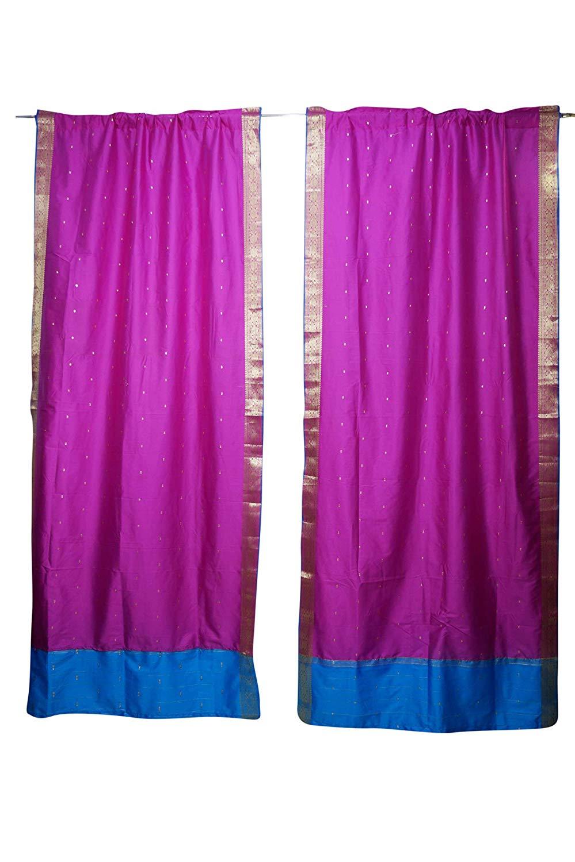 Mogul Interior 2 Indian Silk Sari Curtains Panel Pink Rod