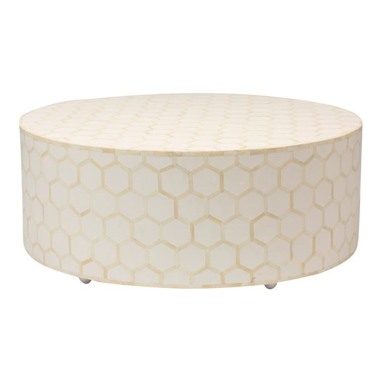 Bone Inlay Coffee Table Round White in 2020