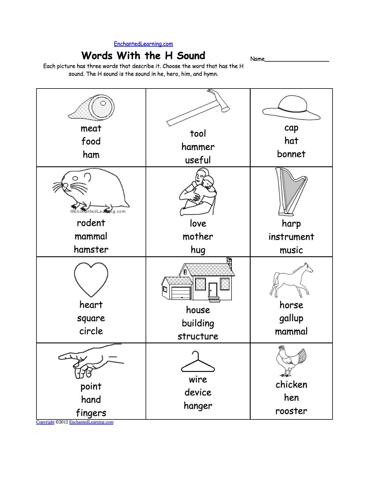 Letter H Alphabet Activities At Enchantedlearning Com Kindergarten Worksheets Phonics Worksheets Letter H Worksheets [ 1649 x 1275 Pixel ]