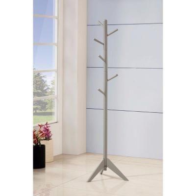 Benjara Free Standing Gray Wooden Coat Rack With Six Hooks And Tripod Base Bm159260 In 2020 Wooden Coat Rack Standing Coat Rack Coaster Furniture