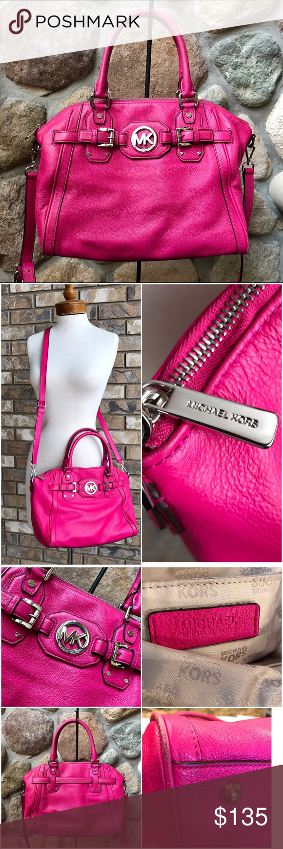 """Michael Kors Hudson leather Bag Michael Kors genuine leather Satchel bag in Raspberry color.  Silver hardware.  Multiple compartments interior.  Detachable messenger strap.  Wear on bottom corners. See third bottom picture.  Paid $398 January 2016.  Measures 16"""" by 14"""" , 10"""" drop with 5"""" depth. Michael Kors Bags Satchels"""