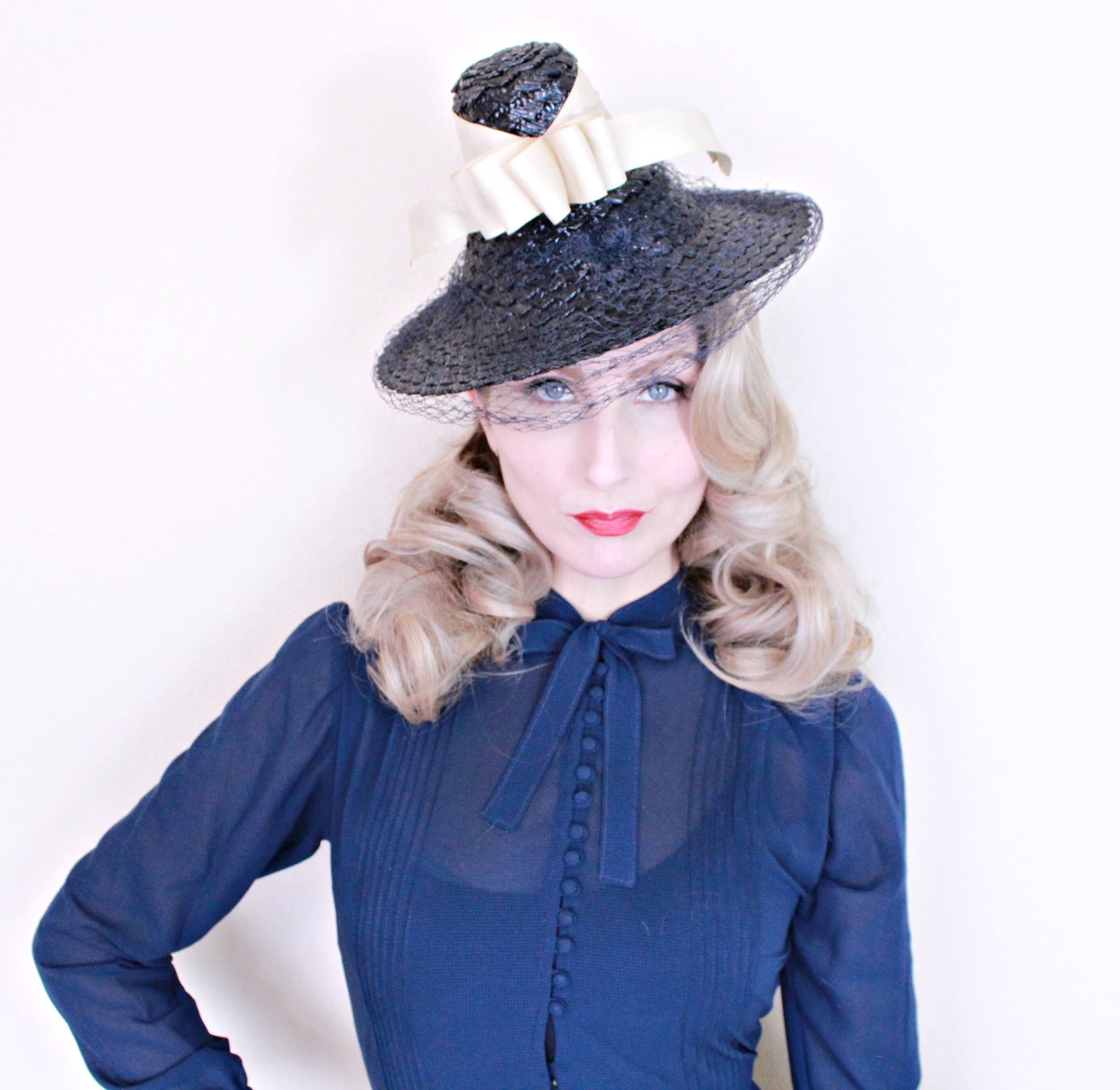 1930s Vintage Hat   Vintage tilt hat   Straw   Navy blue   vintage 30s hat    Cream ribbon by HighHatCouture on Etsy ... c4f5284cd7a5