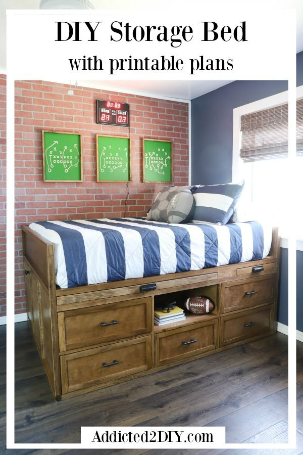 How To Build A Diy Full Size Captain S Bed With Hidden Storage Diy Storage Bed Storage Bed Diy Storage