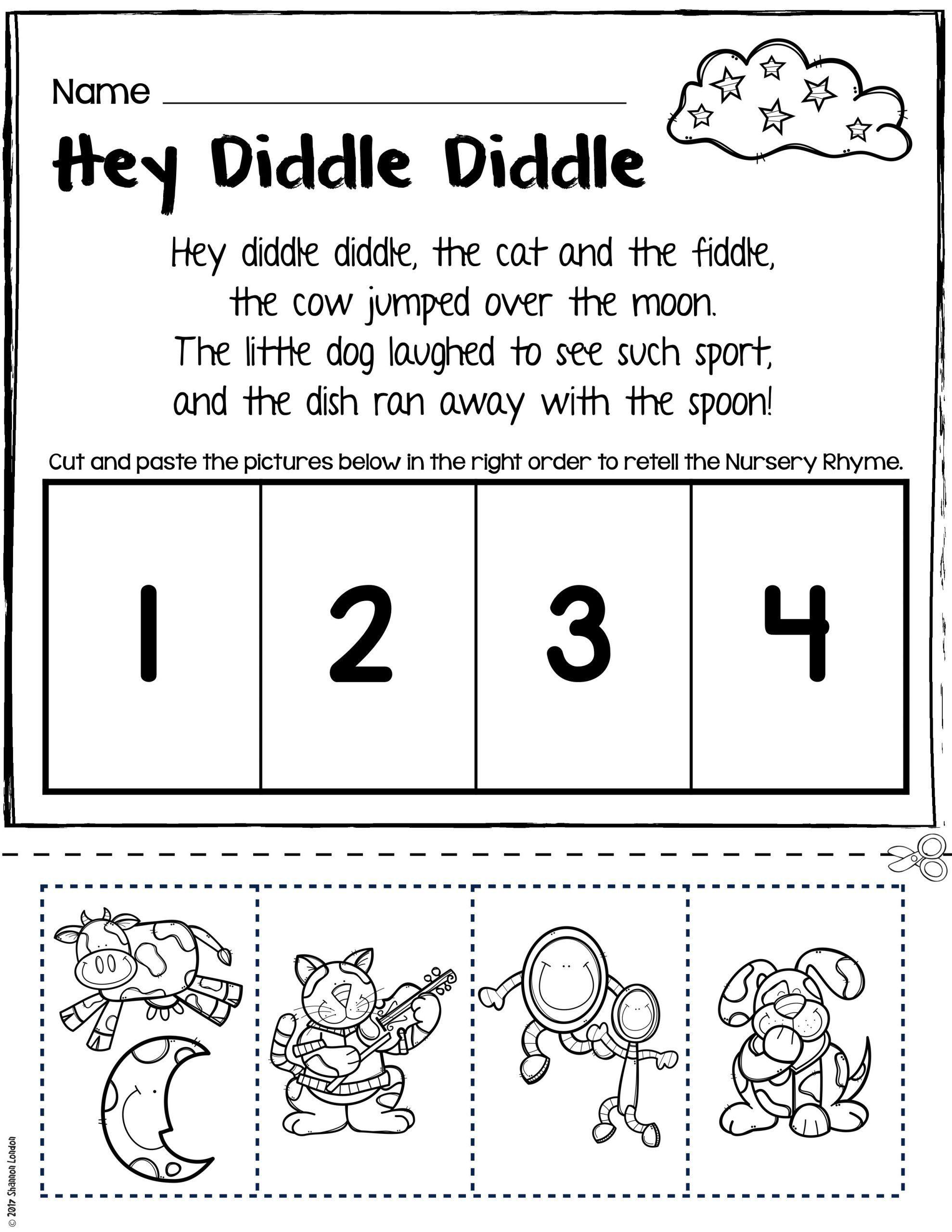 Free Rhyming Worksheets For Kindergarten Nursery Rhymes