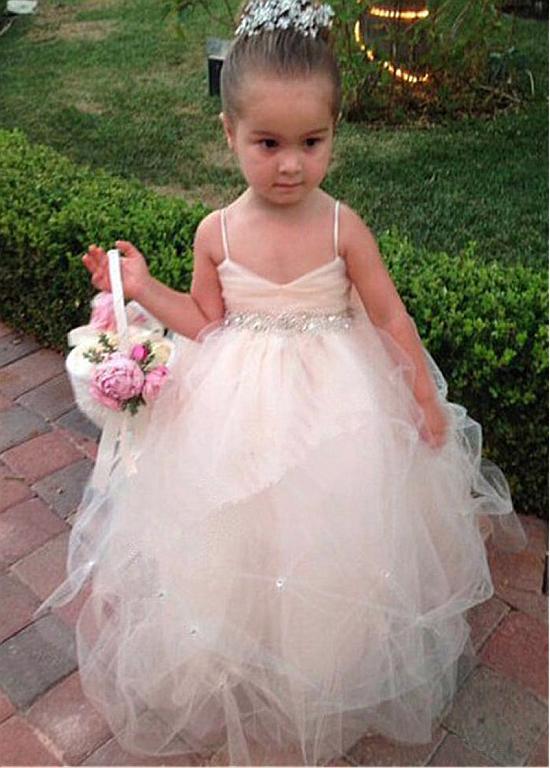 Lovely Tulle Spaghetti Straps Neckline Ball Gown Flower Girl Dresses ...