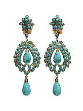 Nilofer Turquoise Open Floral Earrings from Inspired by La Marca: Sparkling High Tea on Gilt