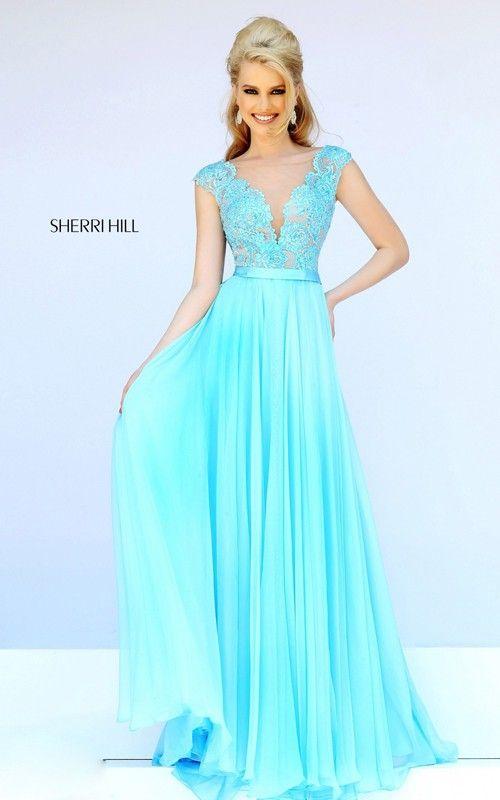 2015 Lace Prom Dress Aqua Sherri Hill 11269