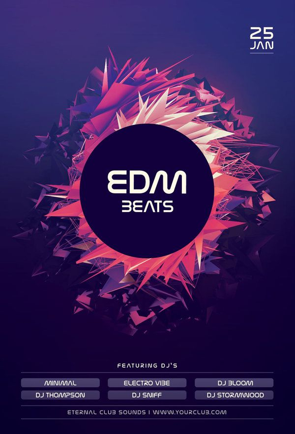 EDM Beats Flyer Pinterest EDM Flyer Template And Flyer Design - Buy flyer templates