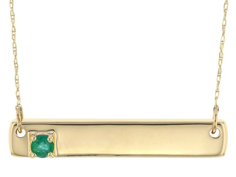 Green Emerald 10k Yellow Gold Bar Necklace 11ct Lls435 In 2021 Yellow Gold Bar Necklace Bar Necklace Gold Bar Necklace