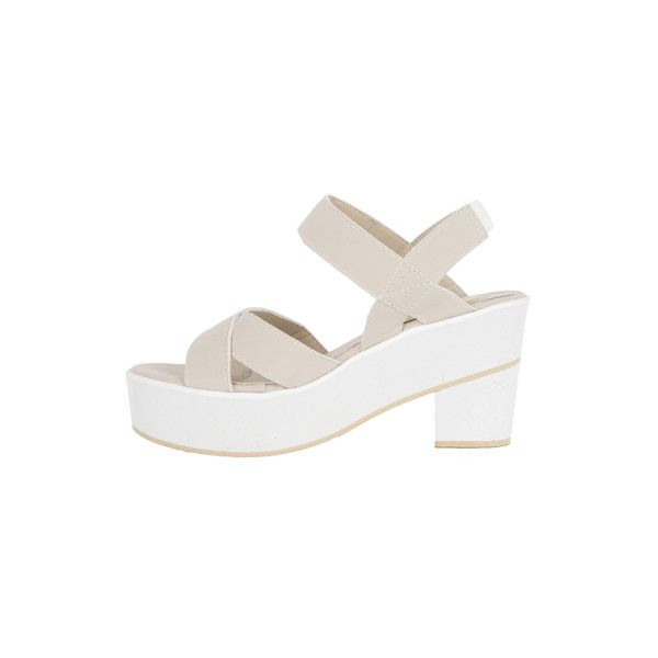 Elastic Strap Platform Sandals ❤ liked on Polyvore featuring shoes, sandals, summer shoes, summer platform shoes, platform sandals, summer sandals and elastic-strap sandals