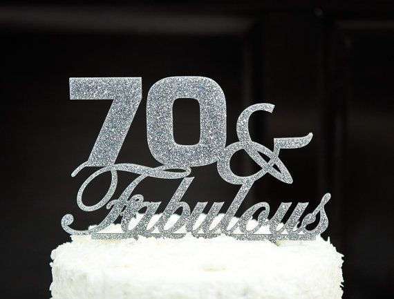 70th Birthday Glitter Cake Topper for Seventieth by cakeup on Etsy