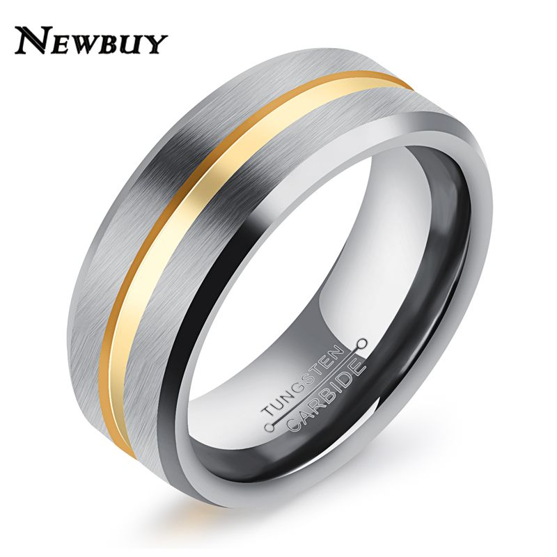 New Fashion Gold Color 8mm Width Tungsten Men Rings Hot Unique Design Jewelry For