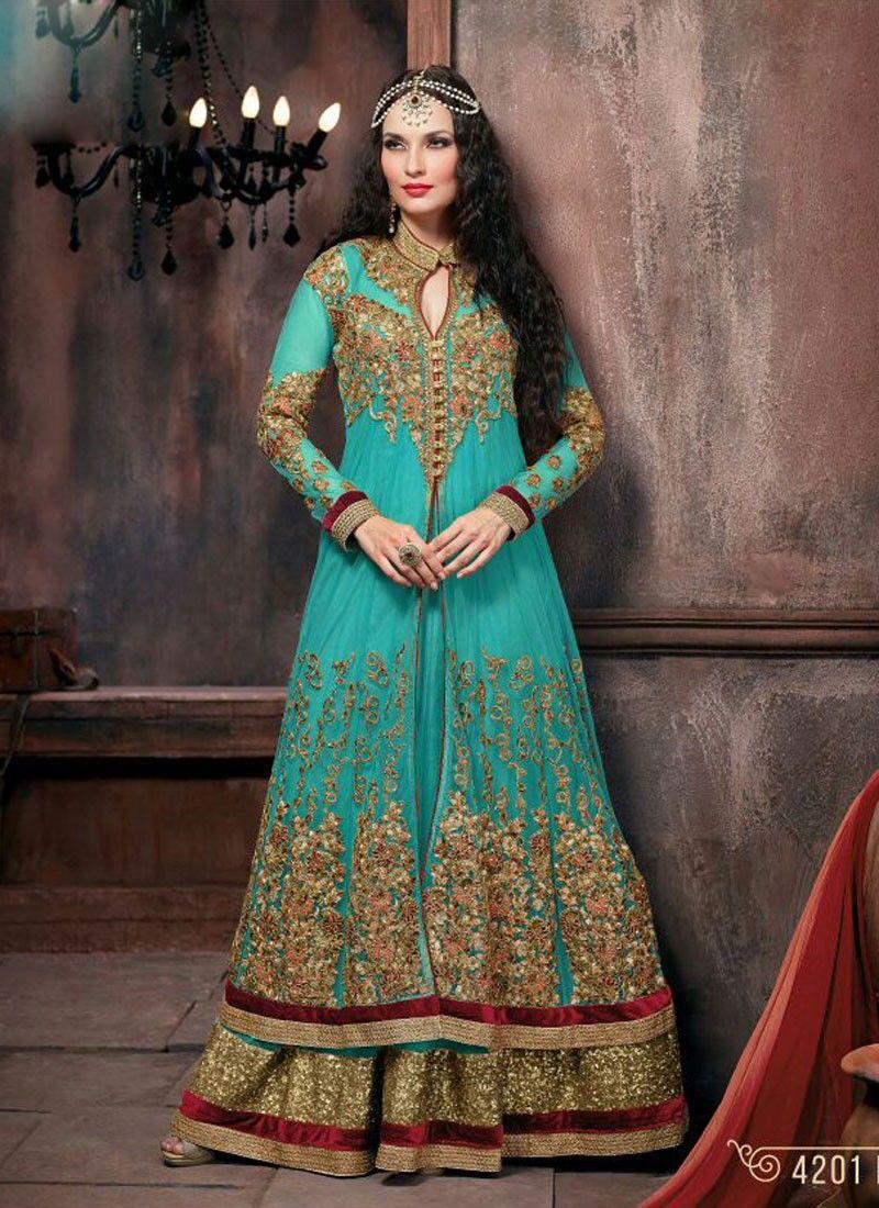 Charming Blue Net Wedding Anarkali Salwar Kameez | Indian wear ...