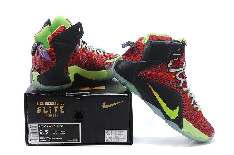 aa274431237a Nike LeBron 12 Black Red Green  129.99
