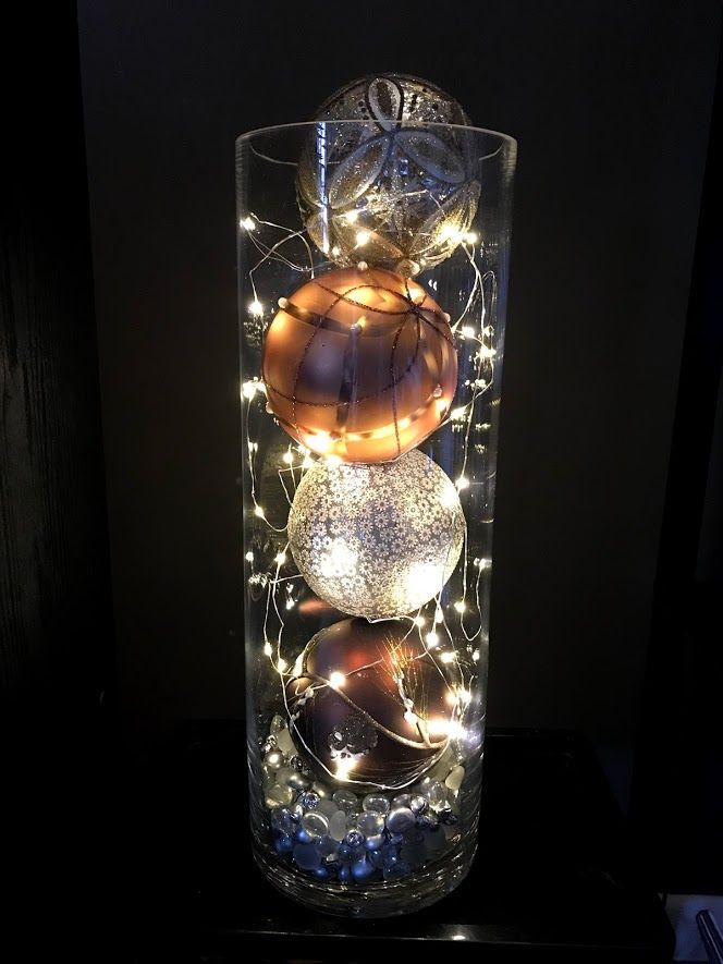 Christmas Bulbs With Led Lights On Timer In A Large Glass Vase Christmas Bulbs Christmas Vases Christmas Centerpieces