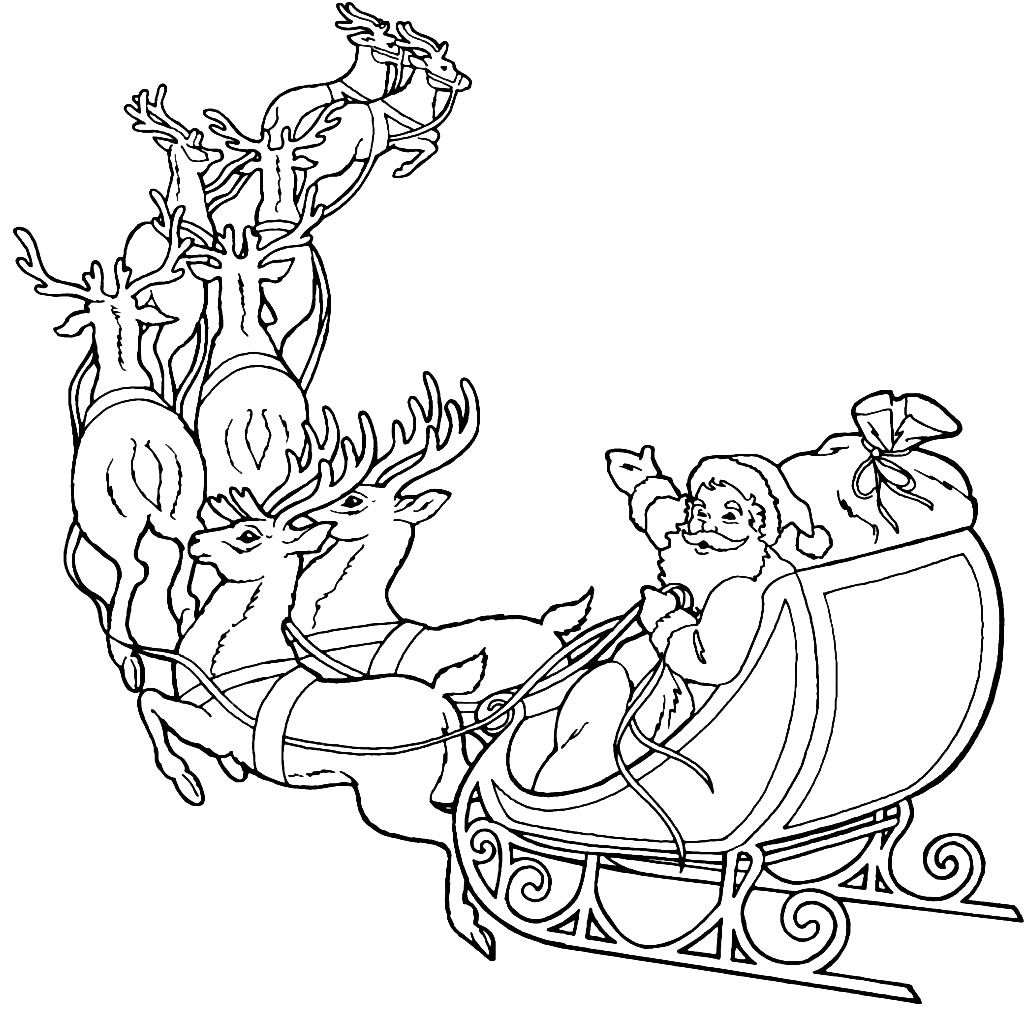 santa claus and reindeer coloring pages - Santa Reindeer Coloring Pages