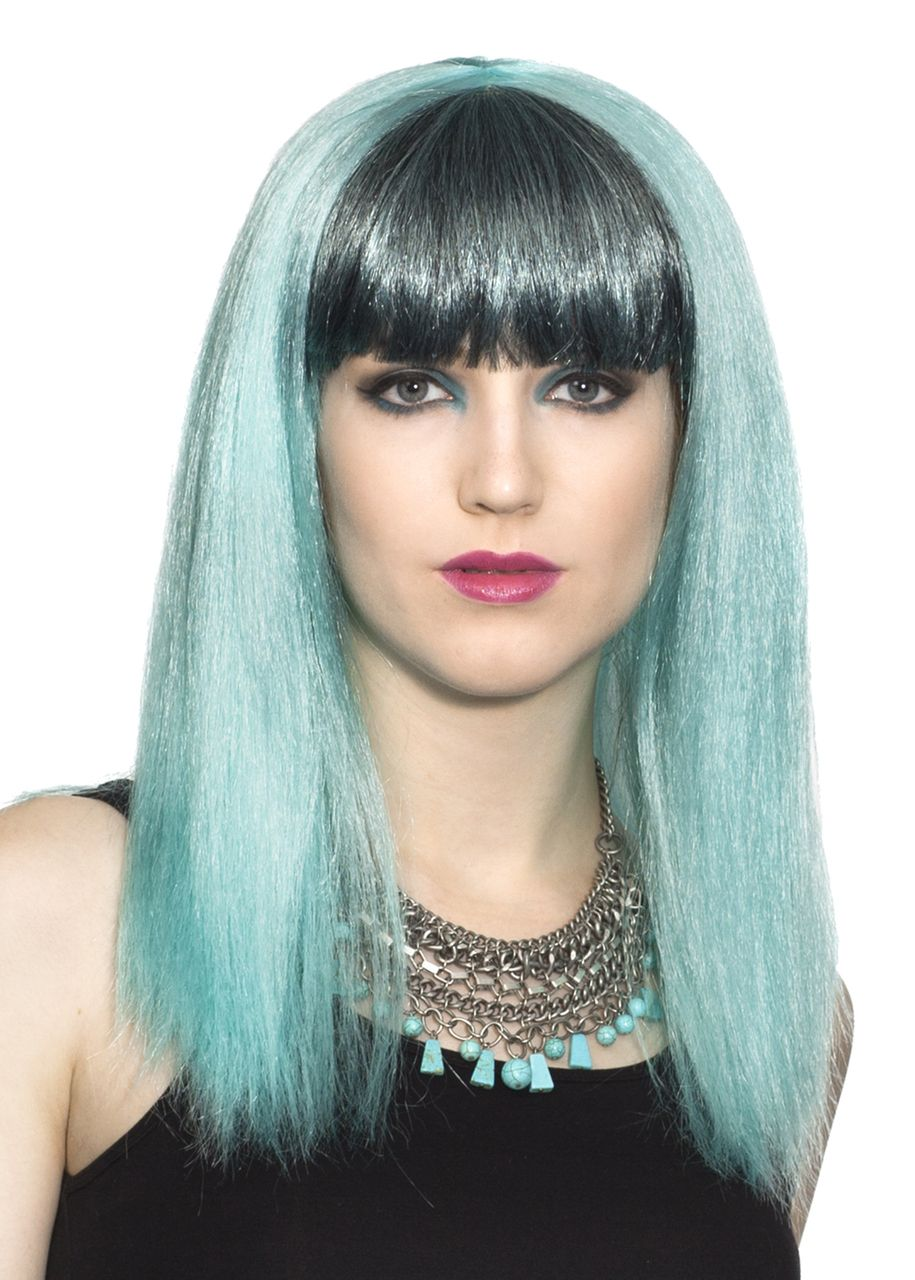 Cosplay anime womens wig sky blue with dark bangs