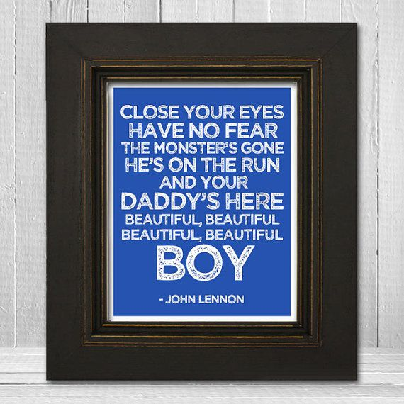 John Lennon Song Lyrics Print 11x14 - Beautiful Boy Nursery Print - John Lennon Music Art Print - Fathers Day Gift via Etsy