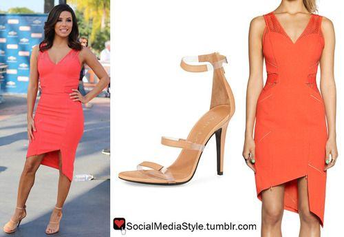 """Buy Eva Longoria's """"Extra"""" Orange Dress and Nude Sandals, here!"""