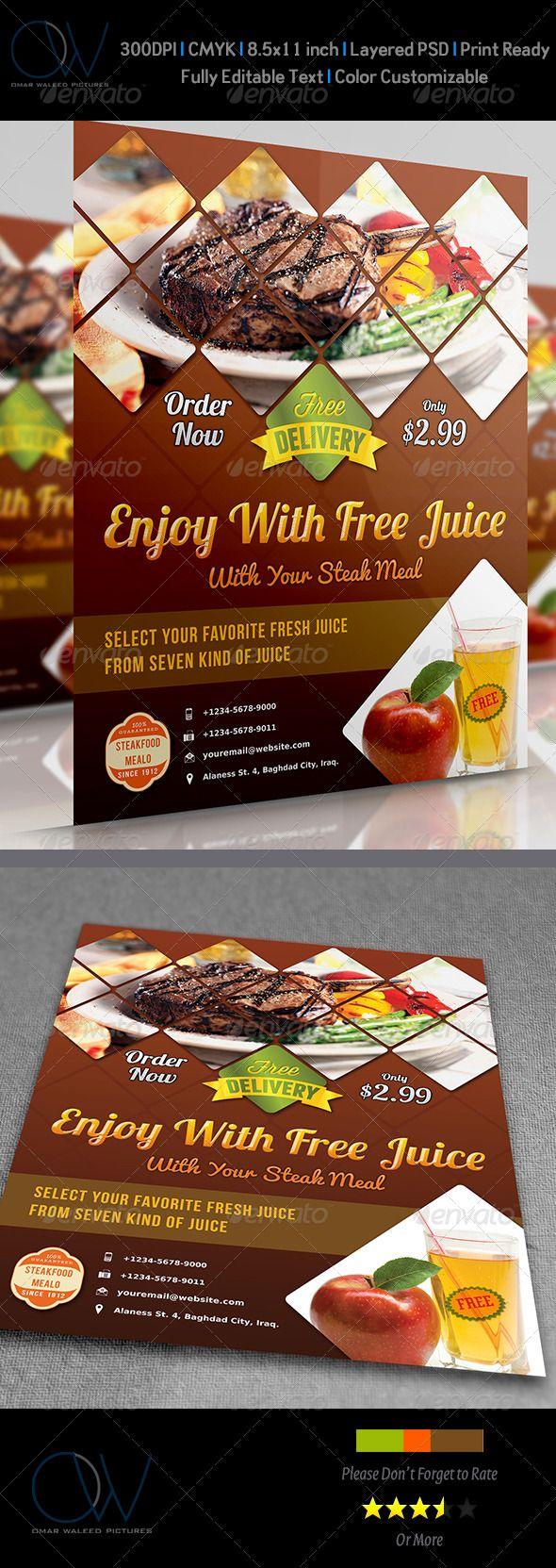 Steak Restaurant Flyer   Restaurante, Diseño corporativo y Bebidas
