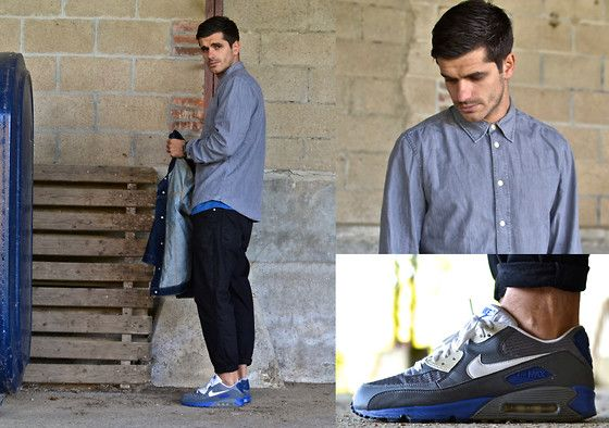 1. GREY SHIRT, COS, HTTP://WWW.COSSTORES.COM 2. TAPERED JEANS, CARHARTT 3. DENIM JACKET, CARHARTT 4. AM90 SNEAKERS, NIKE, HTTP://WWW.NIKE.COM