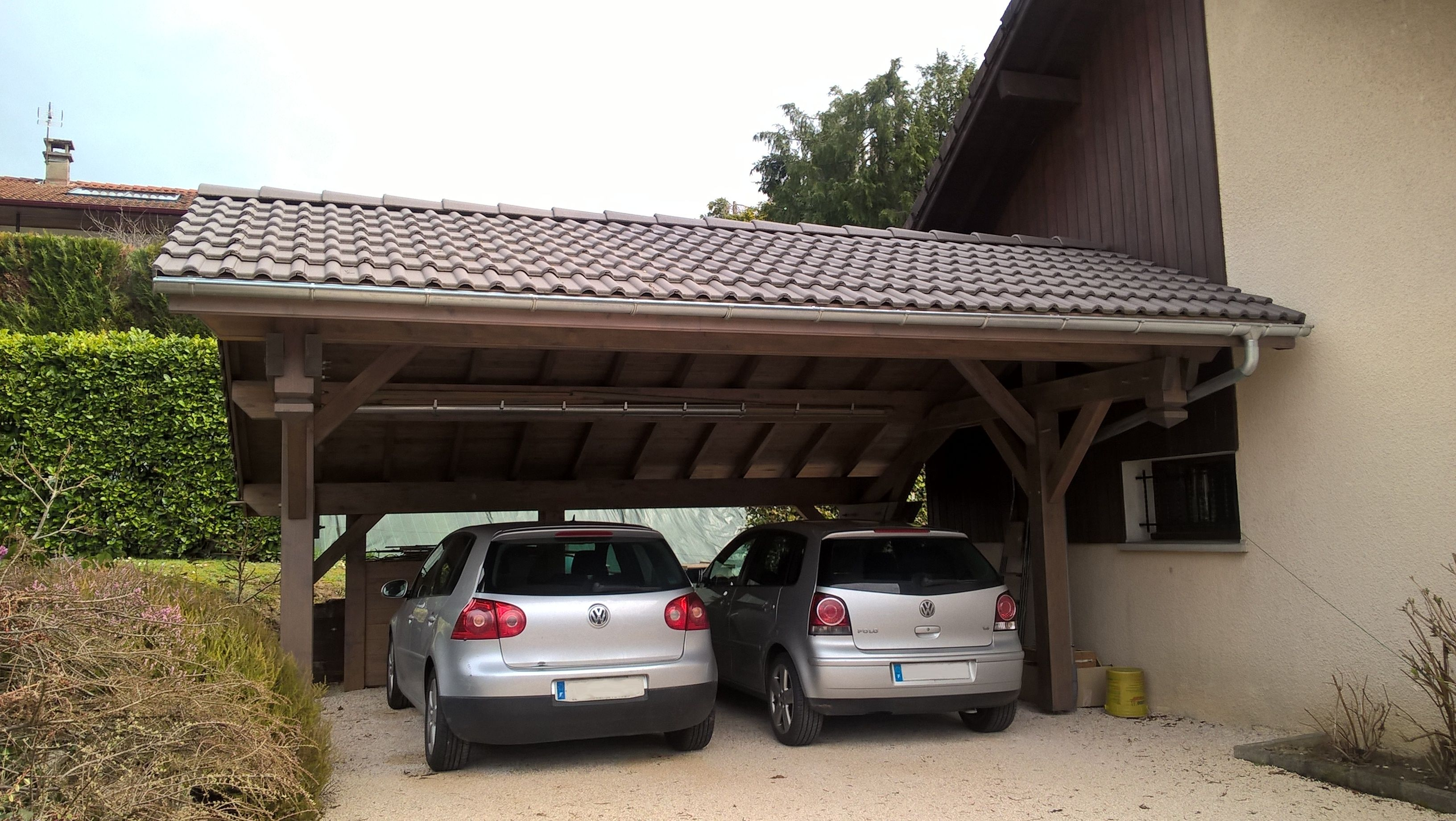 Carport en bois avec toiture Paysagiste, Carport bois