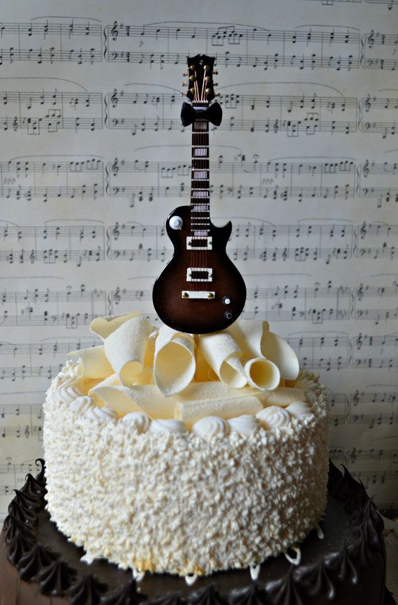Electric Guitar Wedding Birthday Grooms Cake Cake Topper Musician Guitar Birthday Cake Topper