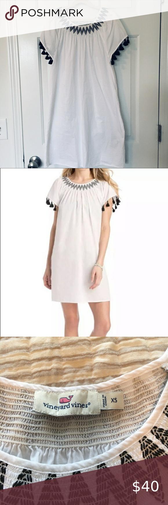 Vineyard Vines Smocked Tassel White Dress Xs In 2020 White Cotton Dress Dresses Xs White Dress [ 1740 x 580 Pixel ]