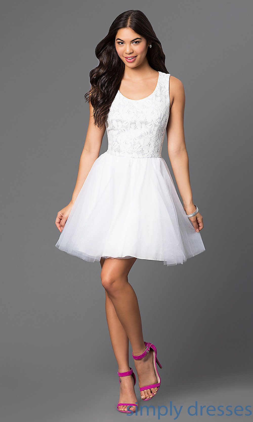Shop short white graduation dresses with sleeveless silver lace tops at Simply  Dresses. Short little white dresses and backless dresses with bows. 8be12a008